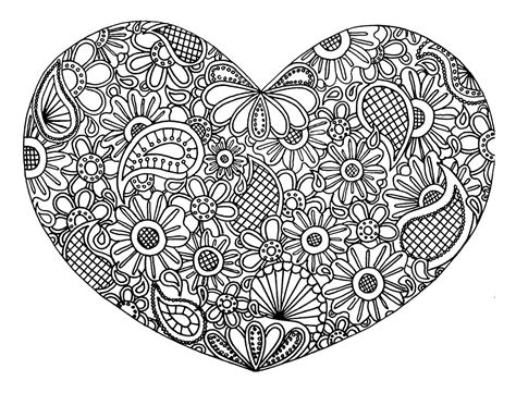 love heart  flowers anti stress adult coloring pages