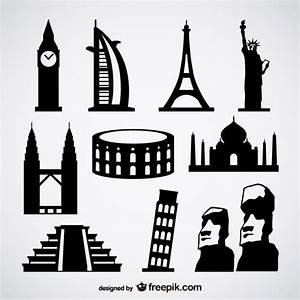 Famous foreign buildings vector Vector | Free Download