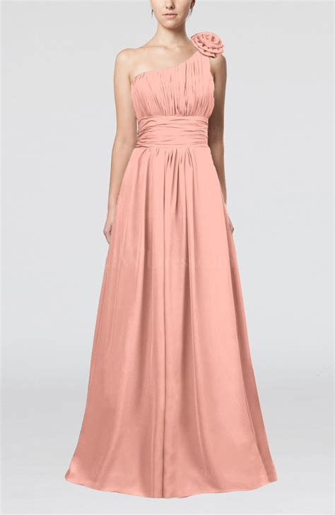 peach cute a line asymmetric neckline sleeveless chiffon