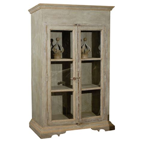 A Painted Wooden Bookcase With Glass Doors At 1stdibs