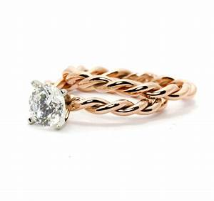 hand twisted rope engagement ring and wedding band set With twisted band wedding ring