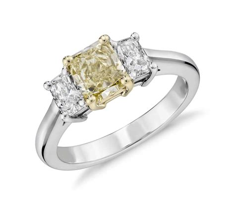 Fancy Light Yellow Diamond Threestone Ring In 18k White. Nerdy Rings. Cloudy Wedding Rings. Hrh Collection Engagement Rings. Knot Rings. Winged Skull Rings. Green Diamond Engagement Rings. Tension Set Diamond Rings. Grey Wedding Rings