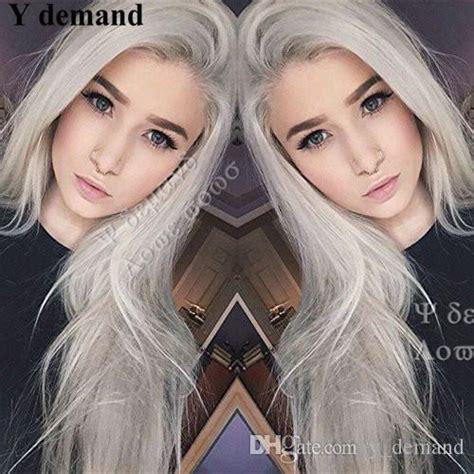 long hair silver platinum blonde lace front lace wigs