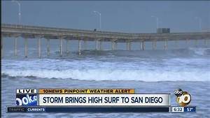 Storm brings high surf to San Diego - YouTube