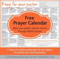 Free Prayer Calendar Pray for Your Pastor