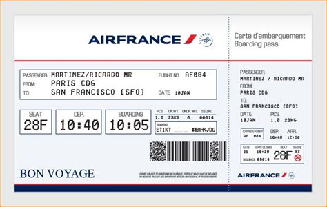 elegant airfrance airlines ticket template