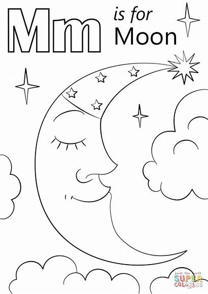 Letter Coloring Moon Worksheets Printable Alphabet Pages