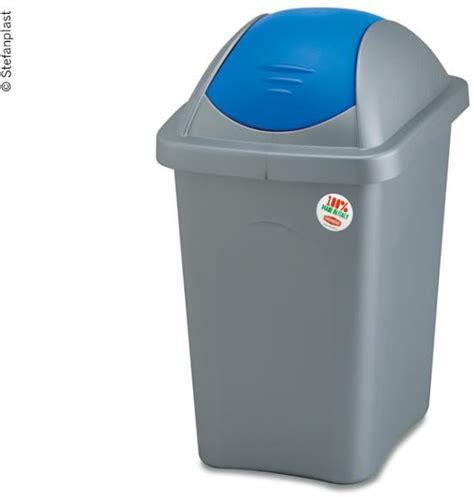 abfalleimer 30 liter stefanplast abfalleimer mit schwingdeckel 30 liter blau grau stefanplast bei cing
