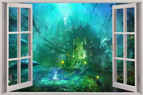 3d Window Ocean View Blue Sea Home Decor Wall Sticker: Huge 3D Window Fantasy City Under Sea View Wall Sticker