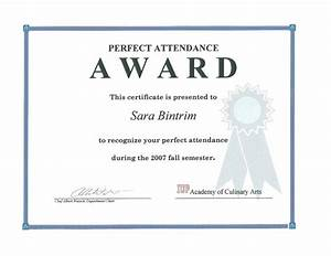 Perfect Attendance Certificate Template Template Perfect Attendance Award Template