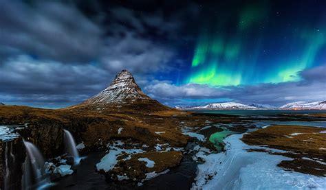 Iceland Kirkjufell Mountain Volcano Rock Waterfall Snow