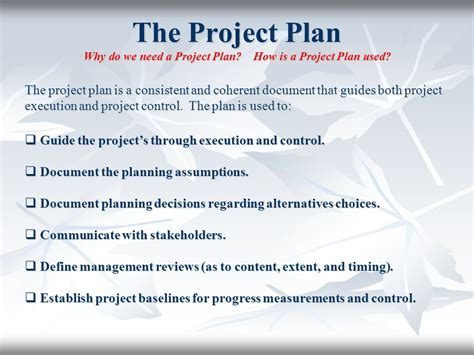 The Project Plan Plan Your Work, Then Work Your Plan Ppt