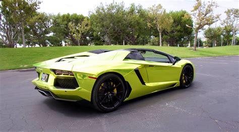 chrome lamborghini lamborghini aventador roadster in tennis ball yellow chrome