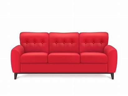 Sofa Illustration Leather Vector Realistic Furniture Vectors