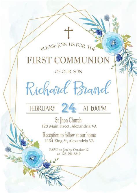 Baptism Invitation Boy Baptism invitation Communion