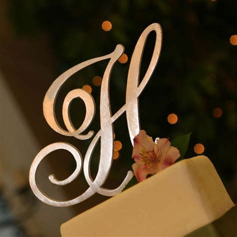 metal monogram cake topper letter font of your choice