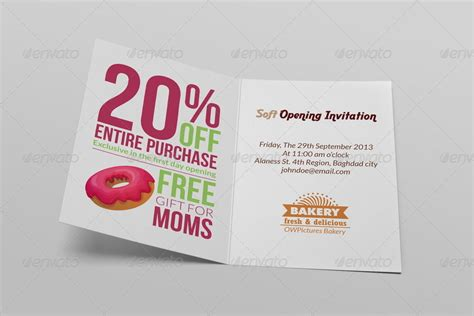 bakery soft opening invitation card template  owpictures