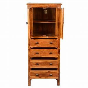 Rustic, Solid, Wood, 56, U2019, U2019, Tall, Storage, Cabinet, W, 4, Drawers