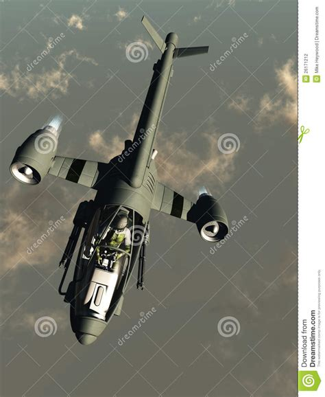 Science Fiction Attack Aircraft At High Altitude Stock
