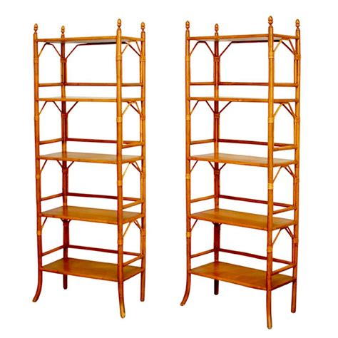 Bamboo Etagere by Faux Bamboo Rattan Etageres At 1stdibs