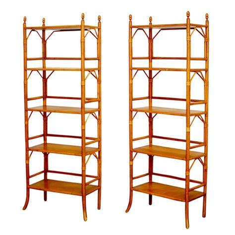 Bamboo Etagere Furniture faux bamboo rattan etageres at 1stdibs