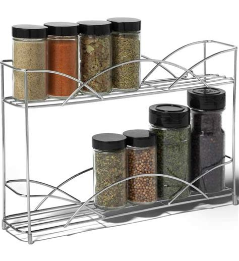 Silver Spice Rack by Two Tier Silver Wall Mount Spice Rack In Spice Racks