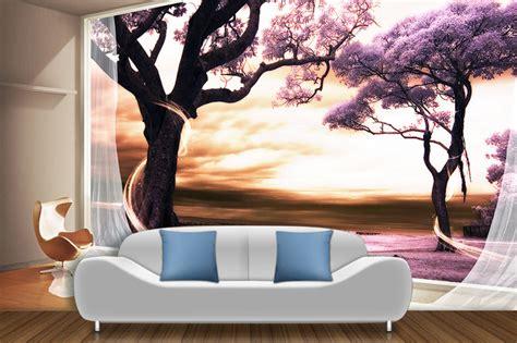 chambre à coucher romantique papier peint 3d paysage fantaisie romantique arbre violet