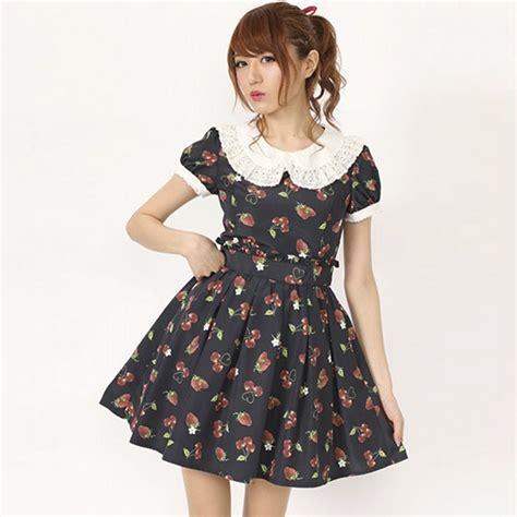 summer lolita pink strawberry cherry dress chiffon fashion