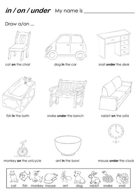 prepositions in on worksheets kindergarten