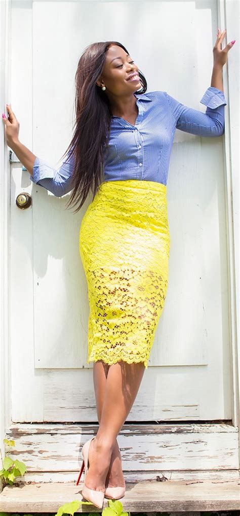 Best 25+ Yellow pencil skirt ideas on Pinterest | Blusa con volantes con brillo Outfits with ...