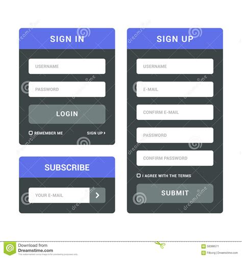 sign up mobile login sign in and subscribe forms stock vector