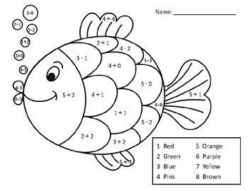 adding  subtracting   math coloring pagefish