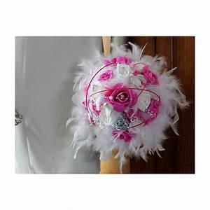 Bouquet De La Mariée : bouquet mari e blanc et fuchsia plumes rotin colombes ~ Melissatoandfro.com Idées de Décoration