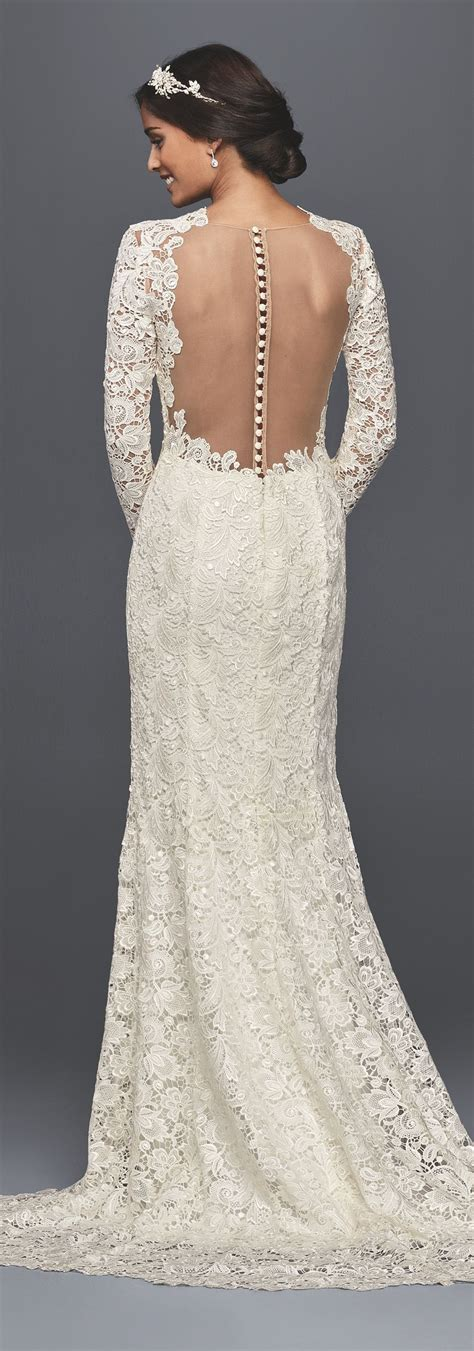 long sleeve lace wedding dress  open  style
