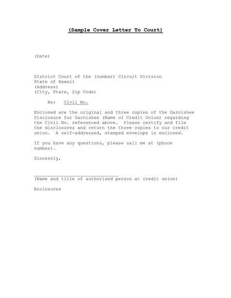 sample letter  district court court