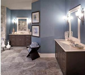 Blue tan bathroom- I like the different color tan tile ...