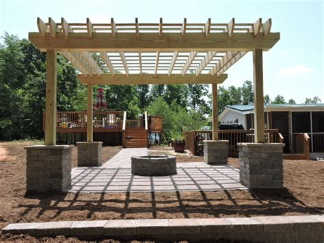 paver patio with pit pergola columns retaining