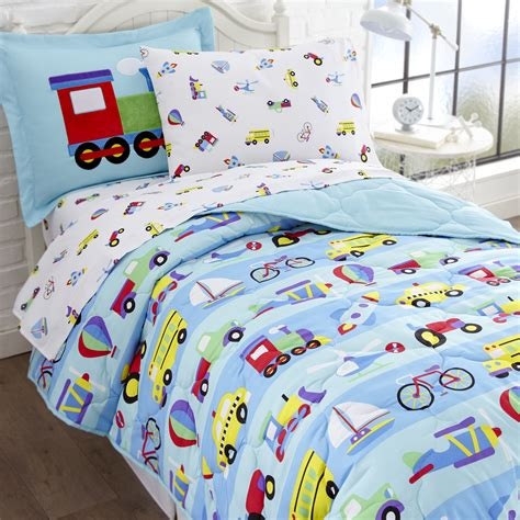 blue transportation train trucks bedding twin or full