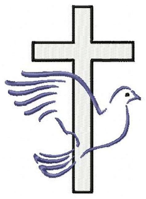 Cross With Dove Christian Machine Embroidery Design Instant