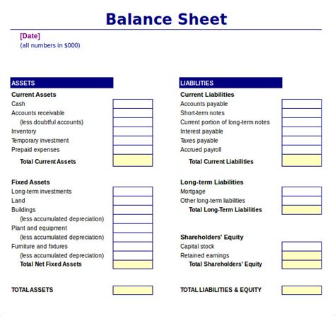 sample balance sheet templates  ms word