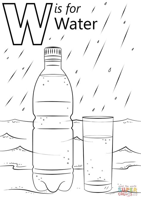 letter    water coloring page  printable