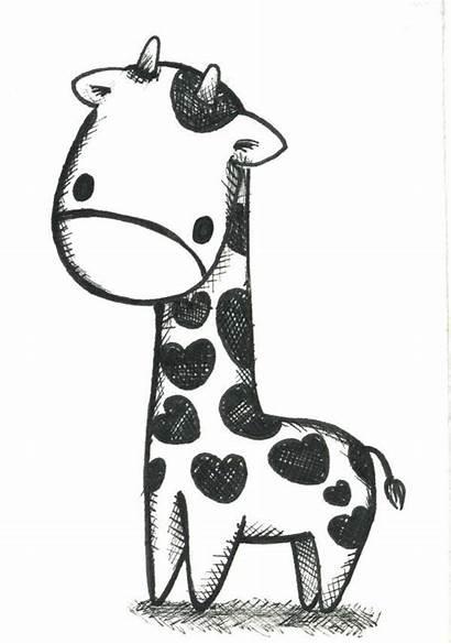 Giraffe Draw Easy Drawing Drawings Cartoon Simple