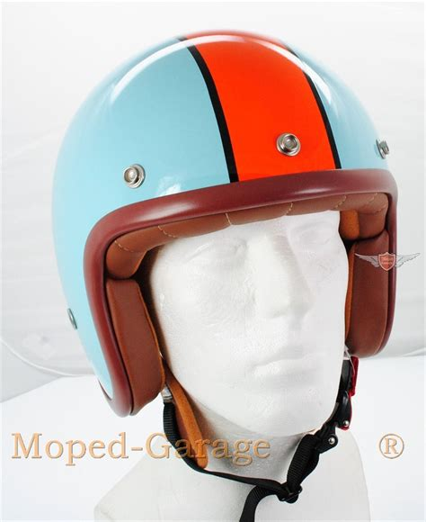 roller helm kaufen moped garage net chopper custom motorrad roller jet helm retro design blau orange moped