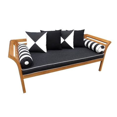 mimosa curved timber day bed  cushion