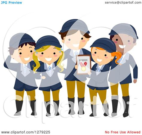 Clipart of a Happy Child Equestrian Team Holding a Medal ...