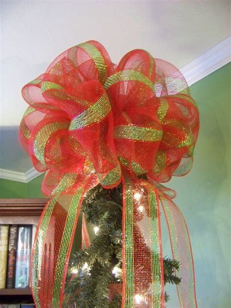 red green gold stripe deco mesh christmas tree topper