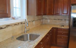 subway tile backsplash kitchen travertine subway tile kitchen backsplash with a mosaic glass tile border