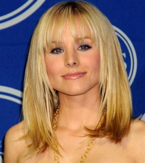 kristen bell s medium length blonde hair with bangs hair