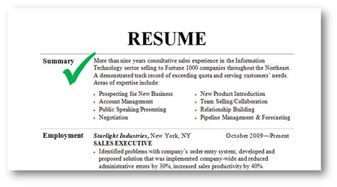 resume with summary of qualifications