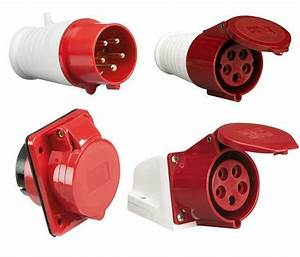 Red 415v 32 Amp 5 Pin Industrial Plug Or Sockets Ip44 3